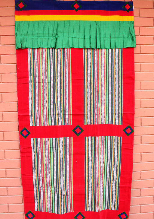 Red Soft Velvet Border Bhutanese Fabric Cotton Door/Wall Hanging Curtain - nepacrafts