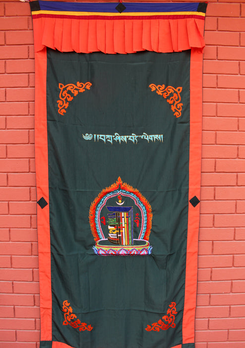 Tibetan Kalchakra Embroidered Door Curtain/Hanging - nepacrafts