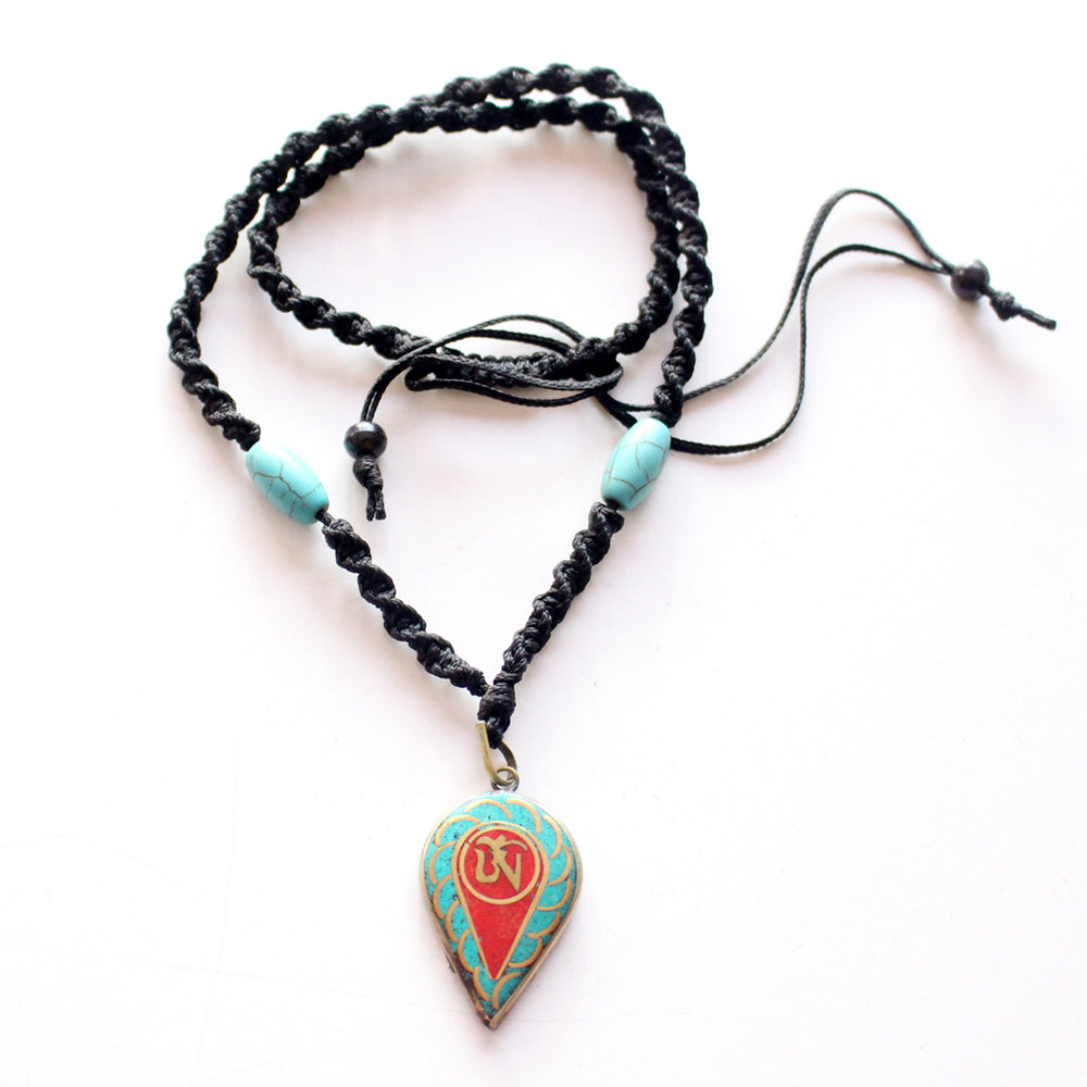 Turquoise and Coral Inlaid Leaf Tibetan Om Pendant - nepacrafts