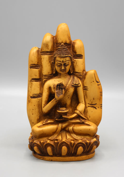Blessing Palm Brown Buddha Resin Statue - nepacrafts
