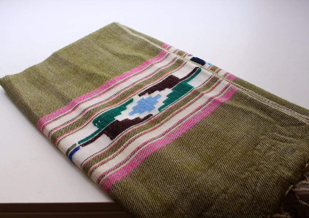 Pink Border Olive Green Warm and Cozy Yak Wool Shawl - nepacrafts