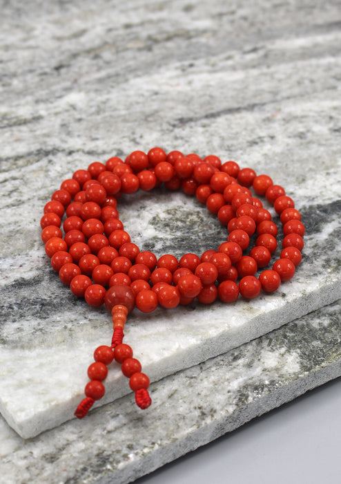 Genuine Coral 108 Beads Mala for Prayer and Meditation - nepacrafts