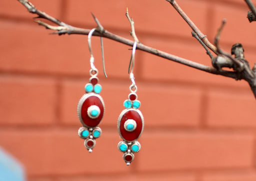 Turquoise and Coral Inlaid Flower Drop Earrings - nepacrafts