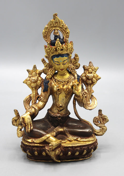 Elegent Green Tara Statue, Partly Gold Plated