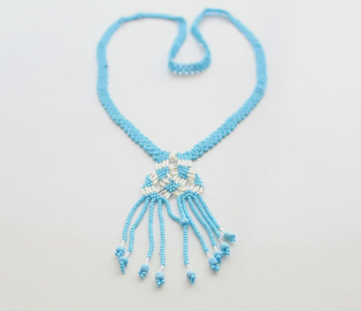 Turquoise Color Glass Beads Women's Necklace - nepacrafts
