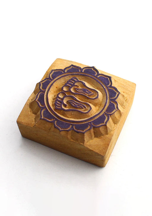 Buddha Footprints Handcarved Mini Wooden Block Print Stamp for Prayer Flags