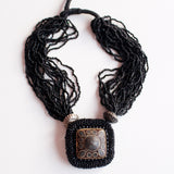 Tibetan Pendant: Glass beads crocheted Multi strand