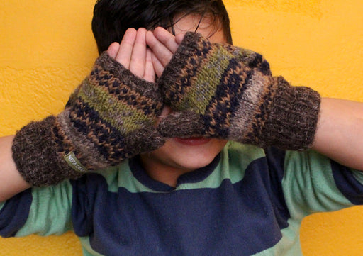 Olive Green Multicolor Soft Wool Convertible Children Mittens/Texting gloves - nepacrafts