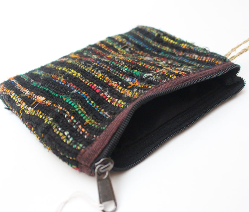 Handloomed Thick Cotton Clutch Purse-Black Multicolored - nepacrafts