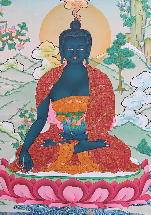 Healing Medicine Buddha Seated on Lotus Tibetan Thangka Painting