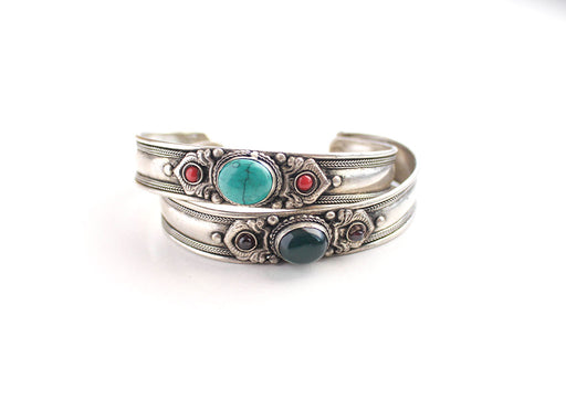 Emrald and Turquoise Inlaid White Metal Tibetan Bracelet - nepacrafts