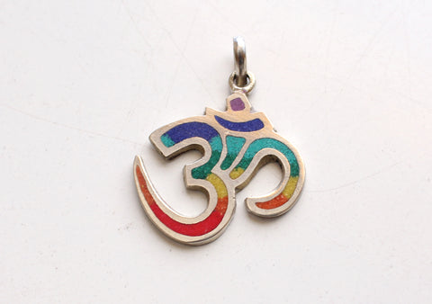 Fine Handmade White Metal Hindu Om Pendant for Meditation and Yoga
