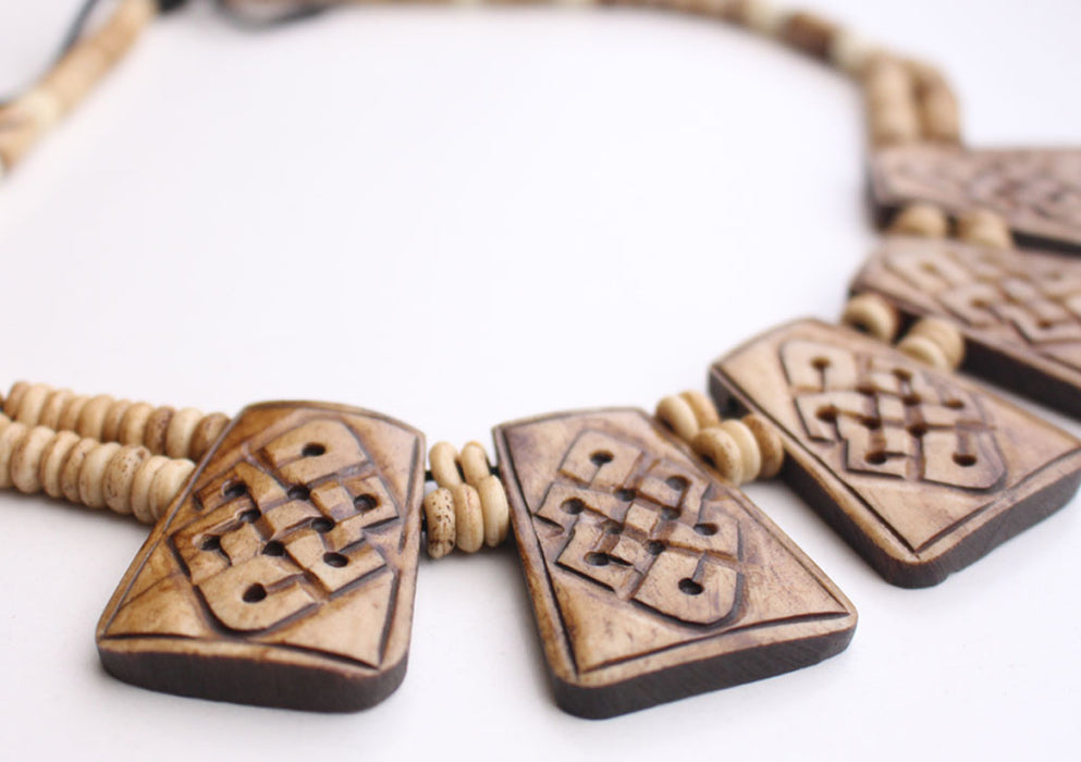 Endless Knot Carved Yak Bone Necklace - nepacrafts