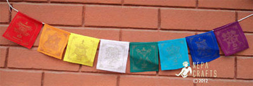 Lucky Symbol Cotton Mini Prayer Flags