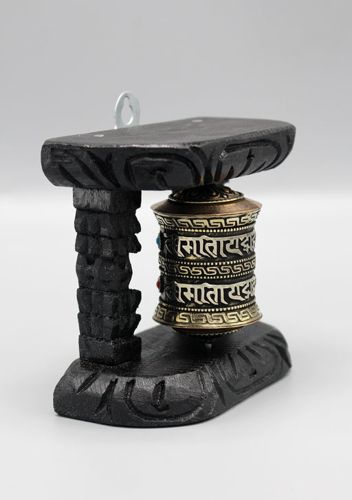 Om Mani Wall Hanging Copper Prayer Wheel with a Wooden Frame - nepacrafts