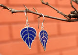Bodhi Leaf Sterling Silver Drop Earrings