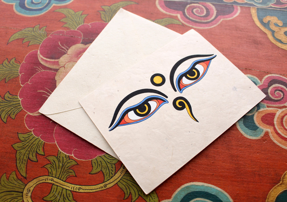 Buddha Eye Painted Handmade Nepalese Lokta Paper Greeting Card - nepacrafts