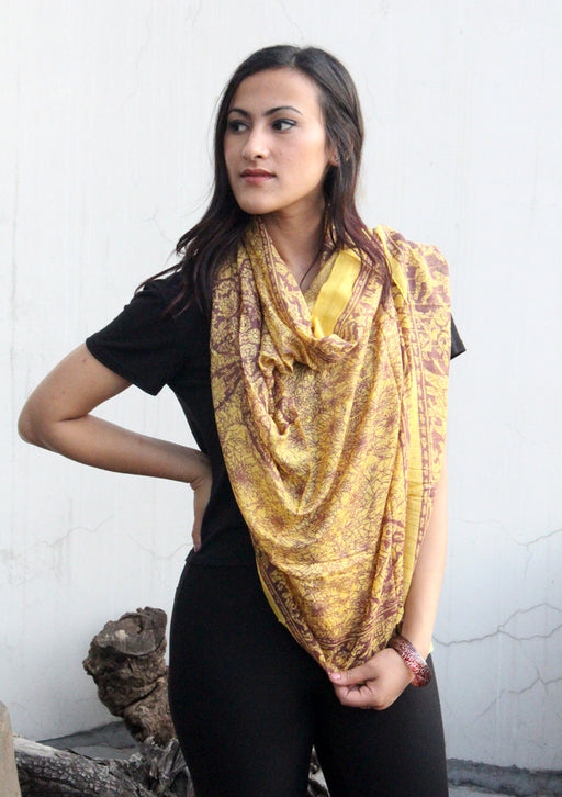 Yellow and Marron Cotton Summer Scarf with Flower Print - nepacrafts