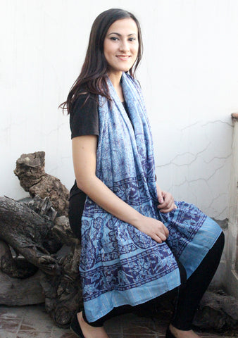 Blue Color Cotton Flower Print Scarf From Nepal - NepaCrafts