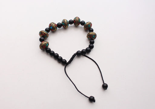 Trendy Black Beads Wrist Bracelet with Stone Setted Round Charms - nepacrafts