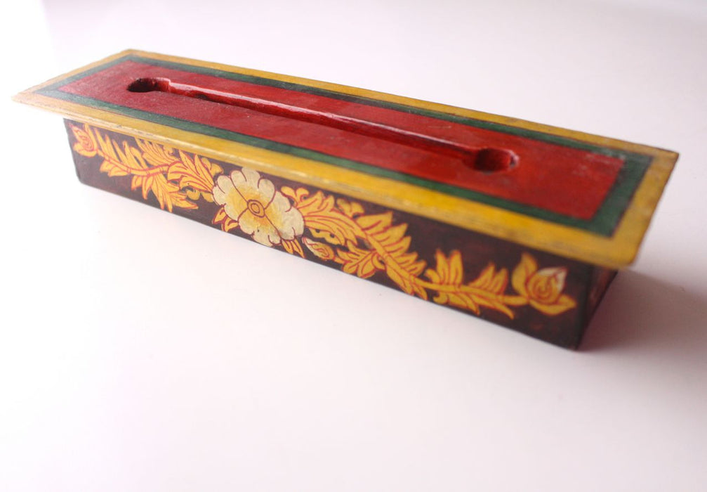 Hand Painted Medium Sized Brown Wooden Incense Burner Box - nepacrafts