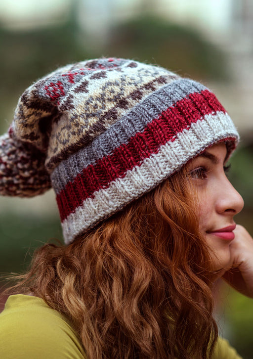 Gray Red Multicolored Woolen Pom Pom Beanie - nepacrafts