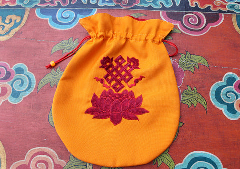 Endless Knot & Lotus Embroidered Mala Bag, Jewellery Pouch - NepaCrafts