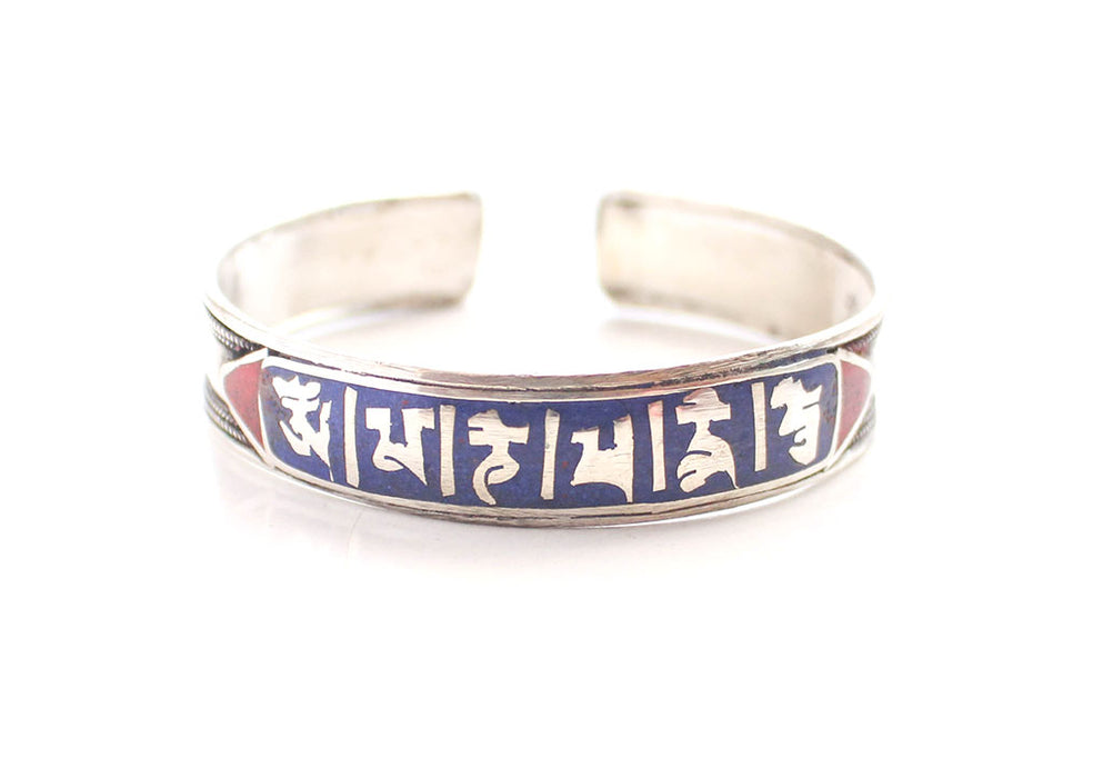 Tibetan Mantra Carved White Metal Bracelet - nepacrafts