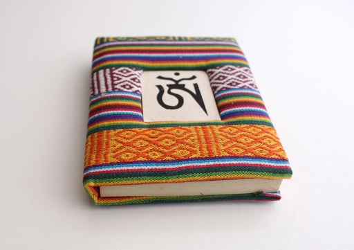 Bhutanese Fabric Hard Cover Thick Lokta Paper Journal Book with Tibetan Om - nepacrafts