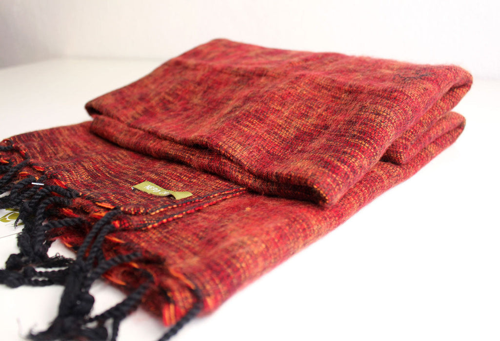 Maroon Orange Mix Plain Himalayan Woolen Shawl - nepacrafts