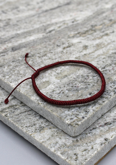 Maroon Lucky Knots Protection Tibetan Bracelet