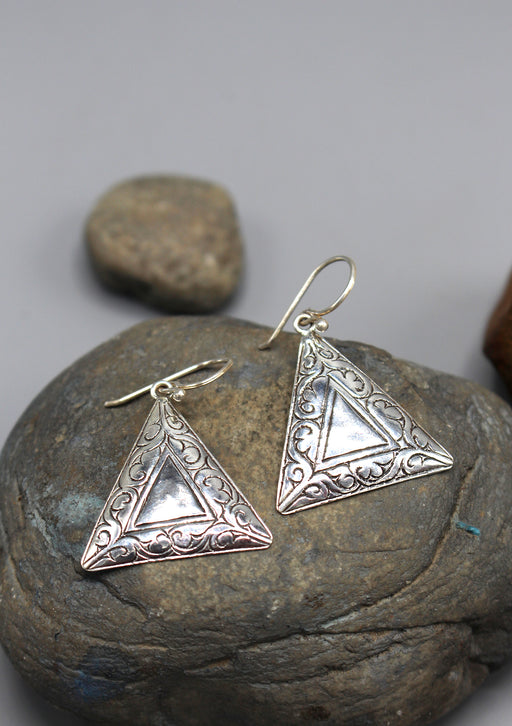 Traditional Triangle Hand Carved Silver Earrings