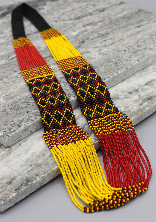 Hand Crochet Yellow and Black Women's Necklace - nepacrafts