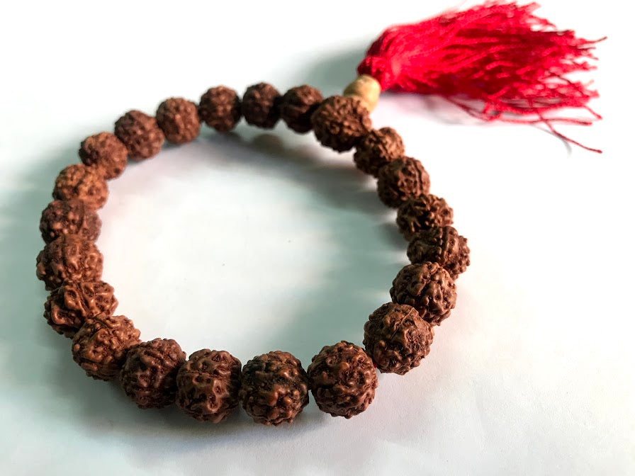 7 mm Rudraksha Beads Wrist Band Bracelet with Red Tassel - nepacrafts