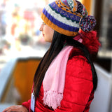 Hand Knit 100% Woolen Yellow, Blue and Pink Multicolored Sherpa Pom Pom Beanie - NepaCrafts