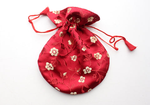 Hongkong Silk Drawstring Pouch with Floral Motifs, Jewelry Pouch - NepaCrafts