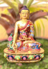 "5.5"" Gold Plated and Hand Painted Medicine Buddha Statue-The Buddha of Healing - NepaCrafts"