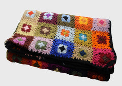 Square Multicolor Flower Pattern Hand Crochet Woolen Blanket/Throw - NepaCrafts