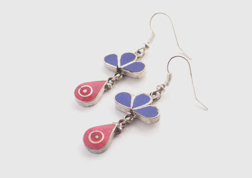 Coral and Lapis Inlaid Drop Earrings - nepacrafts