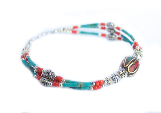 Turquoise and Coral Beads Tibetan Wrist Bracelet - nepacrafts