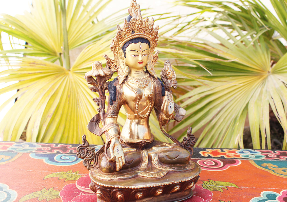 Partly Gold Plated Magical White Tara Statue 8 Inch - nepacrafts