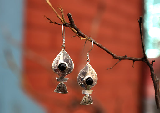 Black Onyx Inlaid Silver Sterling Tibetan Flame Earrings - nepacrafts