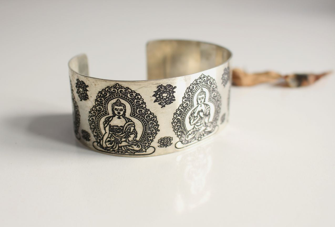 Pancha Buddha Carved White Metal Healing Cuff Bangle - nepacrafts