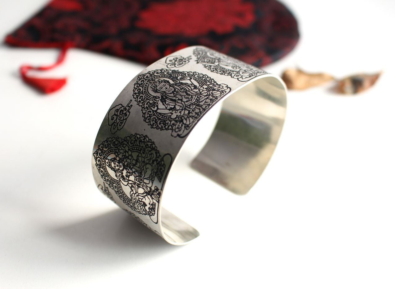 Tibetan Tara Carved White Metal Bangle - nepacrafts
