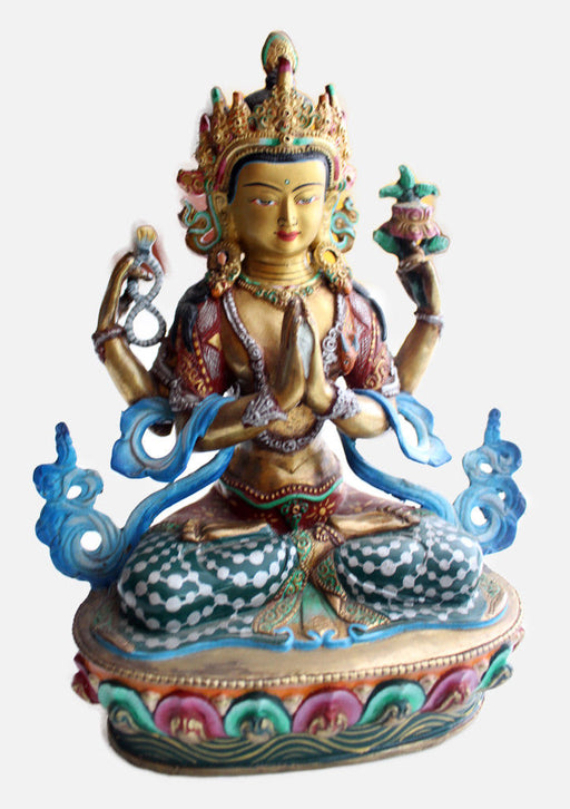 "Intricately Hand Carved and Painted Chenrezig Statue 8.5"" - nepacrafts"