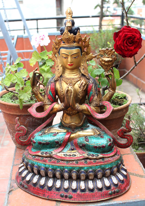 "19"" High Chenrezig Statue Inlaid Turquoise and Stone - nepacrafts"