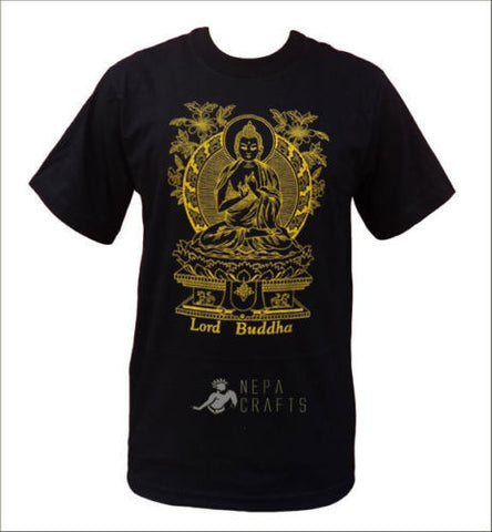 Lord Buddha Hand Printed Cotton Unisex Tshirts from Nepal