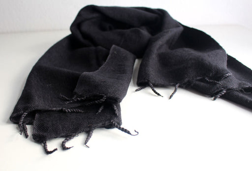 Plain Yak Shawl Black - nepacrafts