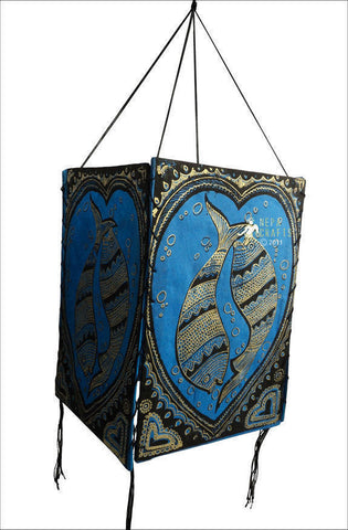 Double Fish Lokta Paper Lamp Shade - NepaCrafts