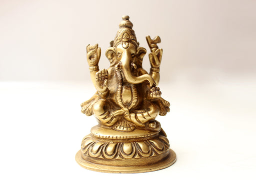 Four Armed Sitting Ganesha Statue, Brass Casted, 4 Inch High - nepacrafts